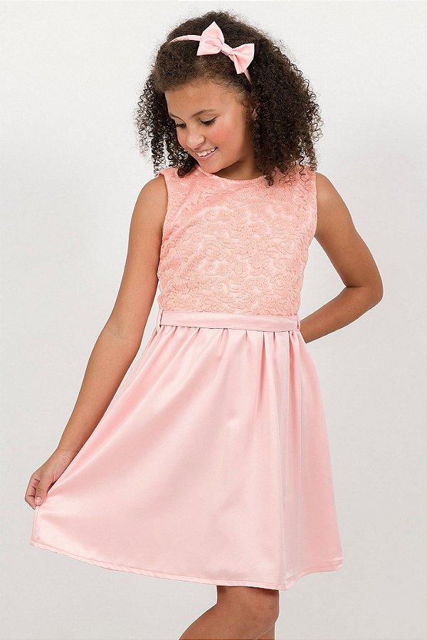 Vestido Infantil Franzido Sem Manga Salmão