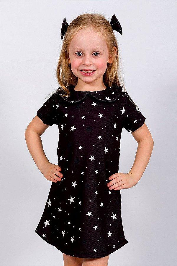 Vestido Infantil Gola Peter Pan Estrelas Preto