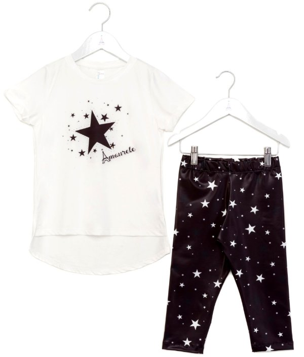 Conjunto Infantil Blusa e Legging Estrelas Preto