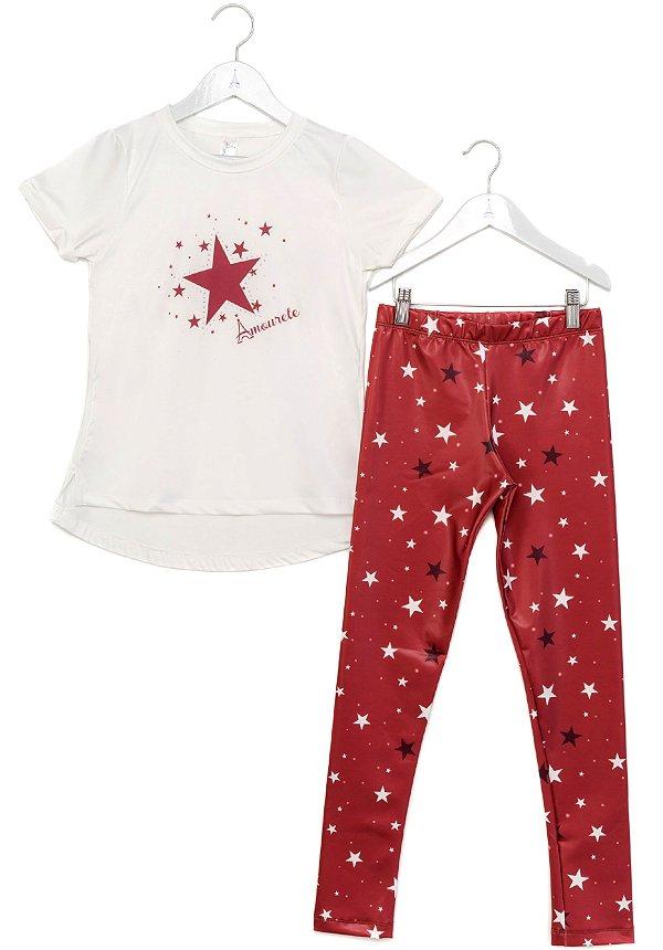 Conjunto Infantil Blusa e Legging Comprida Estrelas Vermelho