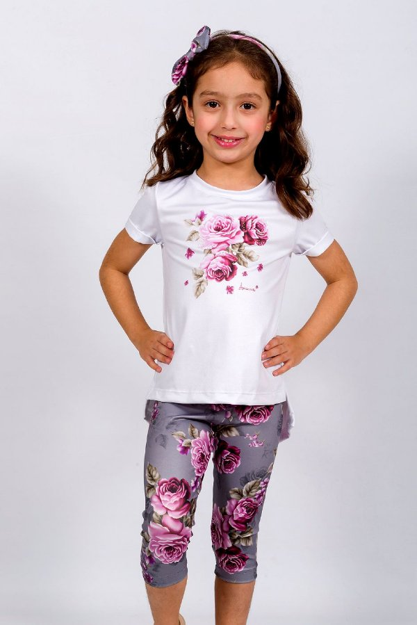 Conjunto Infantil Blusa e Legging Rosas Cinza