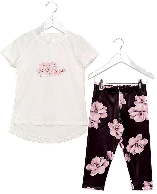 Conjunto Infantil Blusa e Legging Tulipa Preto