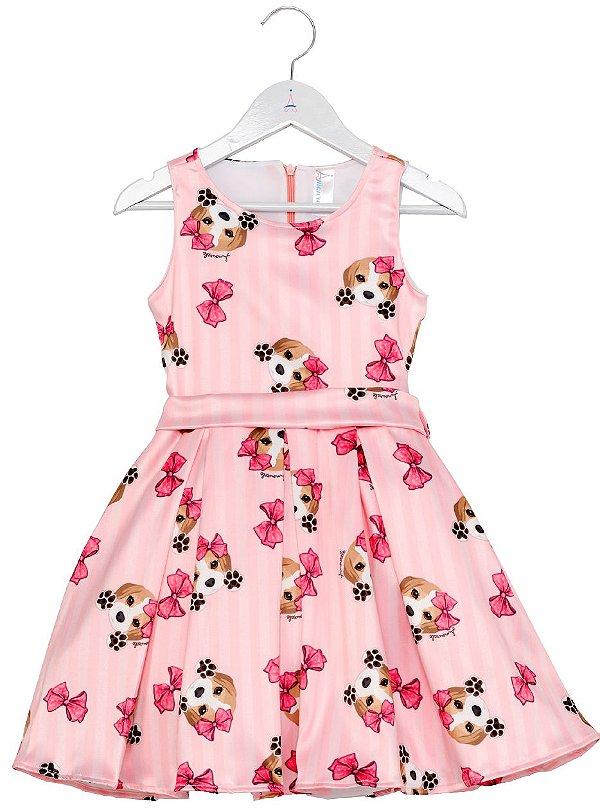 Vestido Infantil Beagle Rosa