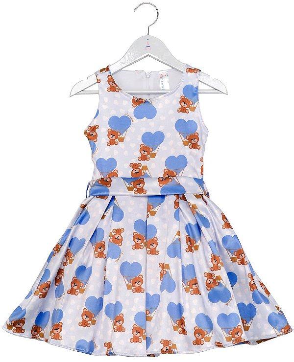 Vestido Infantil Urso Azul