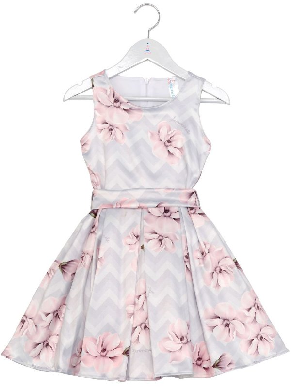 Vestido Infantil Chevron Cinza