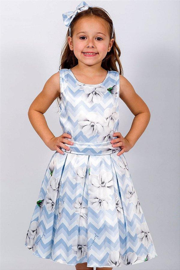 Vestido Infantil Chevron Azul