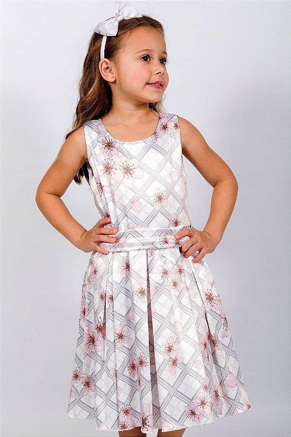 Vestido Infantil Xadrez Cinza