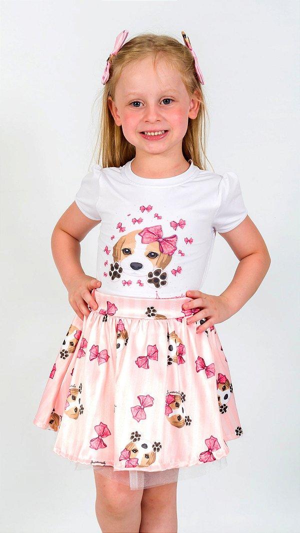 Conjunto Infantil Blusa e Saia Beagle Rosa