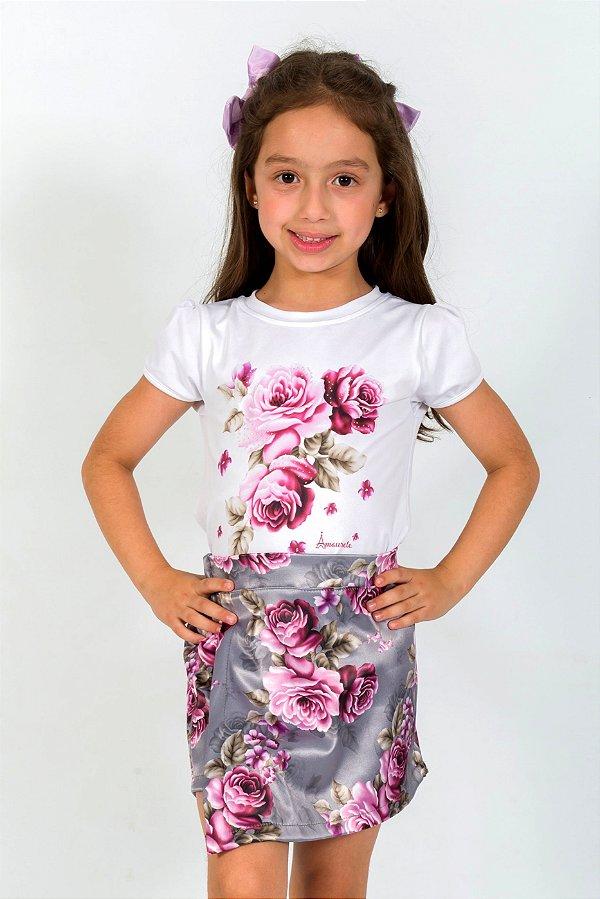 Conjunto Infantil Blusa e Shorts Saia Rosas Cinza