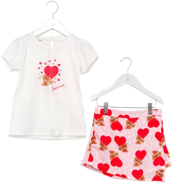 Conjunto Infantil Blusa e Shorts Saia Urso Vermelho