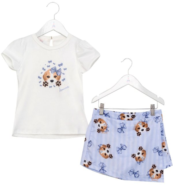 Conjunto Infantil Blusa e Shorts Saia Beagle Azul