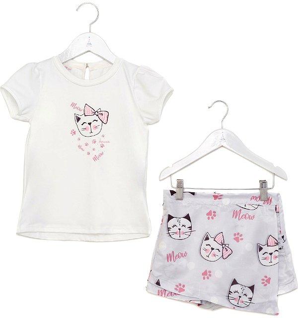 Conjunto Infantil Blusa e Shorts Saia Gatinhos