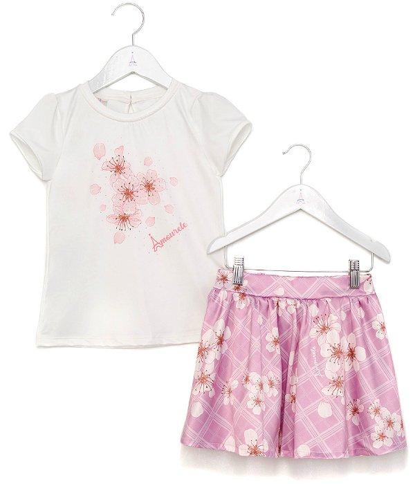 Conjunto Infantil Blusa e Saia Flores Xadrez Rosa