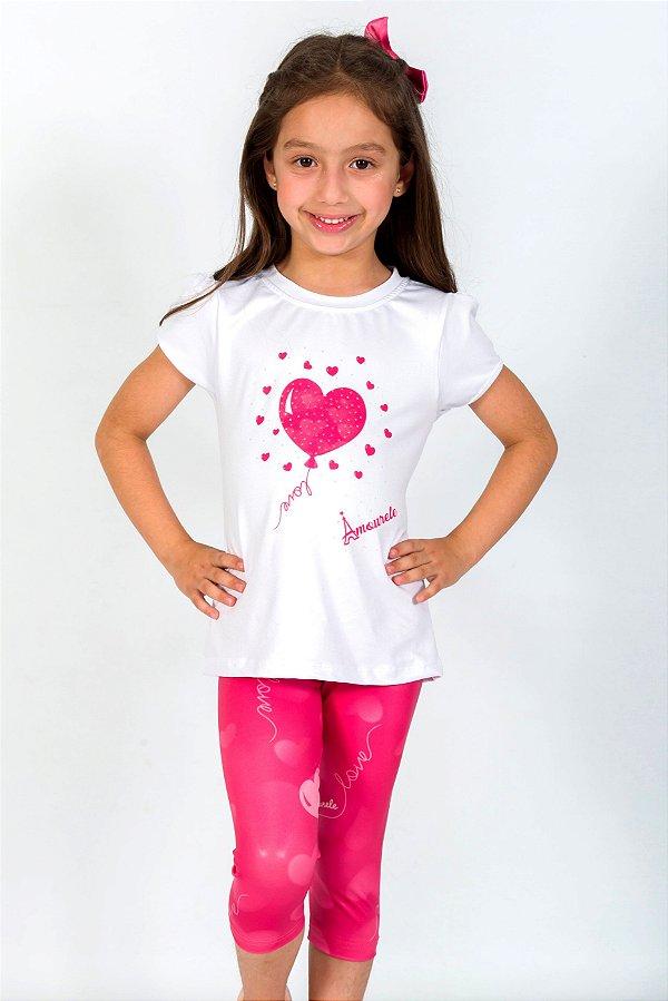 Conjunto Infantil Blusa e Legging Baloes Rosa