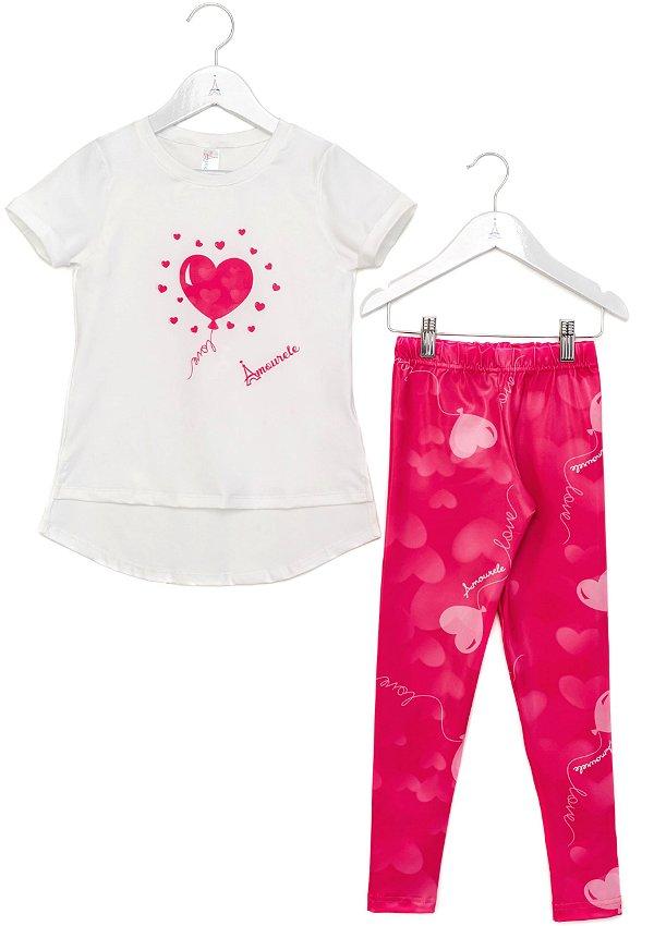 Conjunto Infantil Blusa e Legging Comprida Baloes Rosa