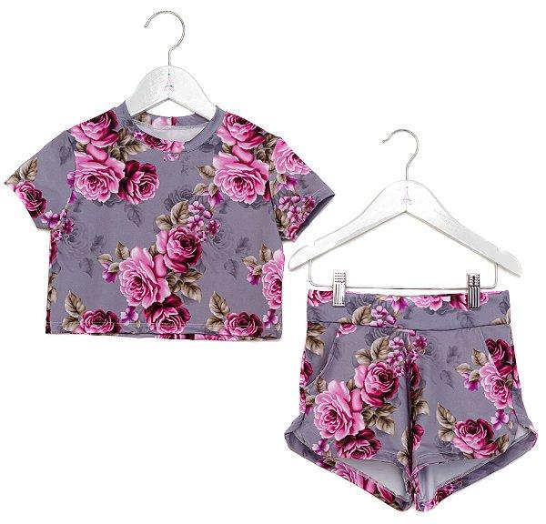 Conjunto Infantil Blusa e Shorts Rosas com Cinza
