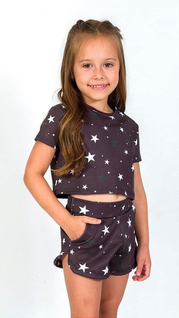 Conjunto Infantil Blusa e Shorts Estrelas Preto