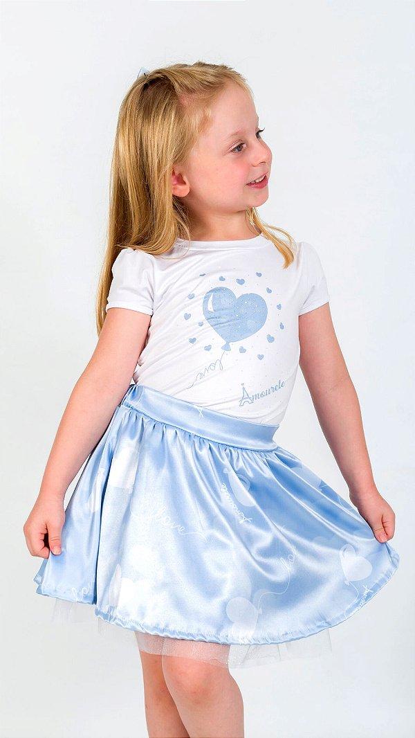 Conjunto Infantil Blusa e Saia Balão Azul