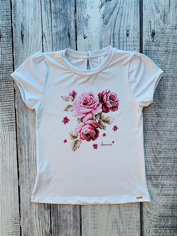Blusa Infantil com Estampa Rosas