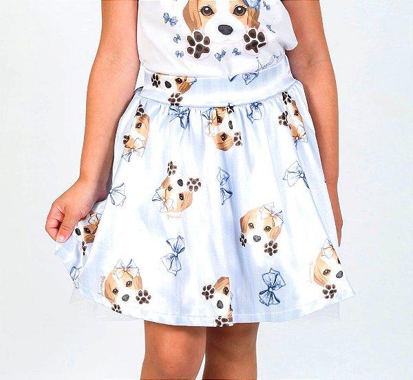 Saia Infantil com Estampa Beagle Azul