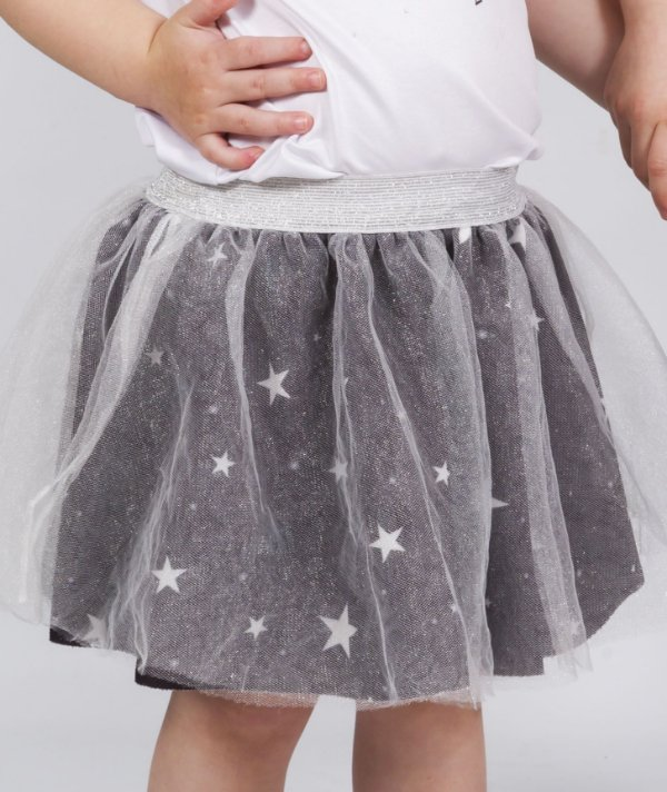 Saia Infantil Bailarina com Estampa Estrelas Preto