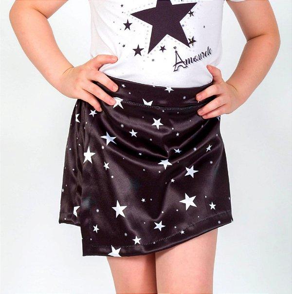 Short Saia Infantil Estrelas Preto
