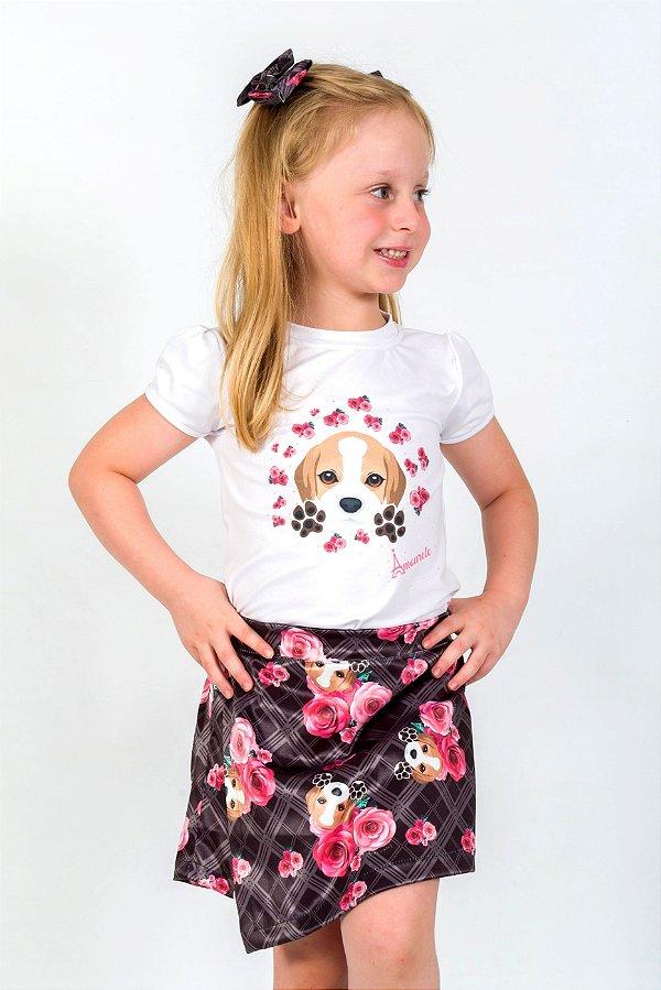 Conjunto Infantil Blusa e Shorts Saia Beagle Xadrez Preto