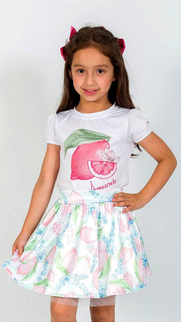 Conjunto Infantil Blusa e Saia Limão Vermelho