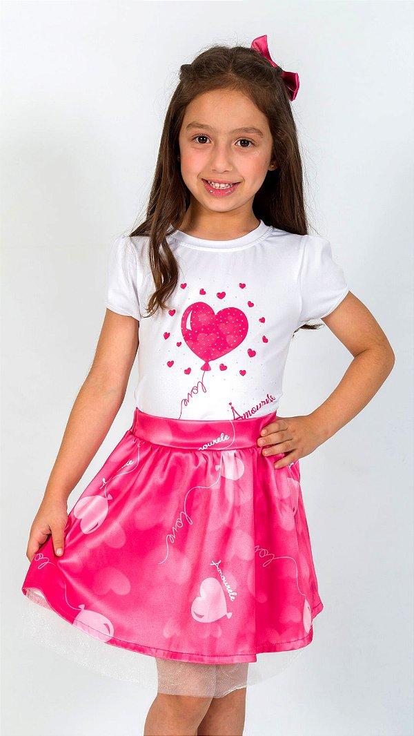 Conjunto Infantil Blusa e Saia Balão Rosa