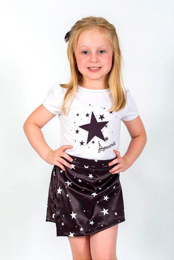 Conjunto Infantil Blusa e Shorts Saia Estrela Preto