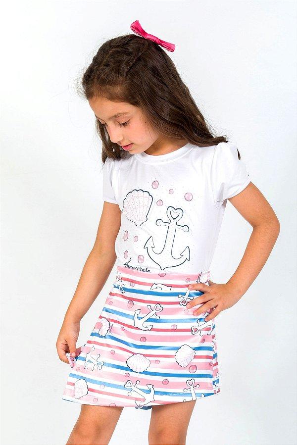 Conjunto Infantil Blusa e Shorts Saia Navy