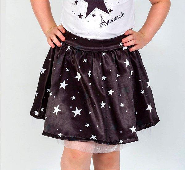 Saia Infantil com Estampa Estrela Preto