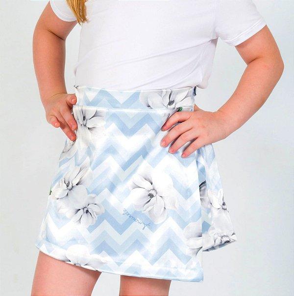 Short Saia Infantil com Estampa Chevron Azul