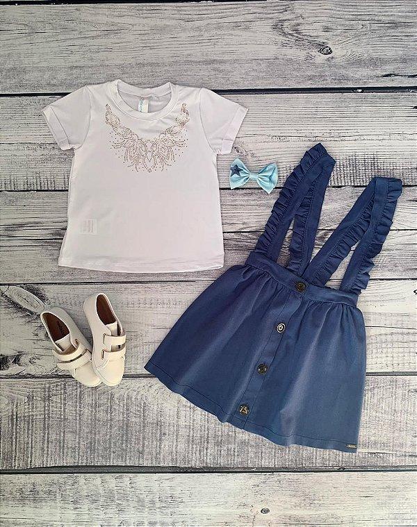 Conjunto Infantil Salopete Linho com Blusa de Strass Azul