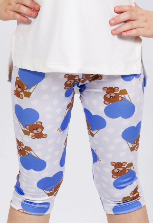 Legging Curta Urso Azul
