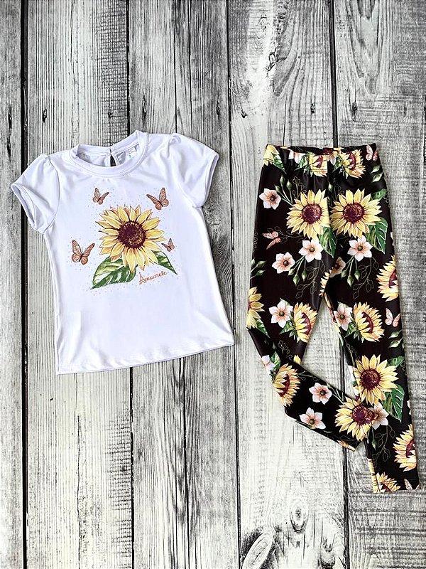 Conjunto Infantil Blusa e Legging Comprida Girassol
