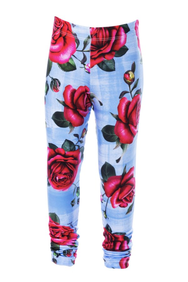 Legging Comprida Rosas Azul