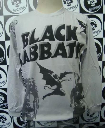 Camiseta Manga Longa Toda Estampada - Black Sabbath - Cinza