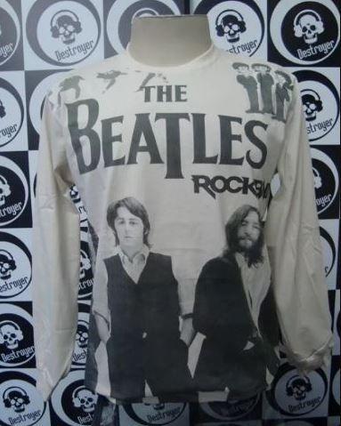 Camiseta manga longa toda estampada - The Beatles - Bege