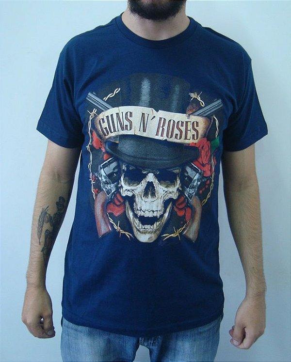 Camiseta Azul Guns and Roses - Caveira Cartola