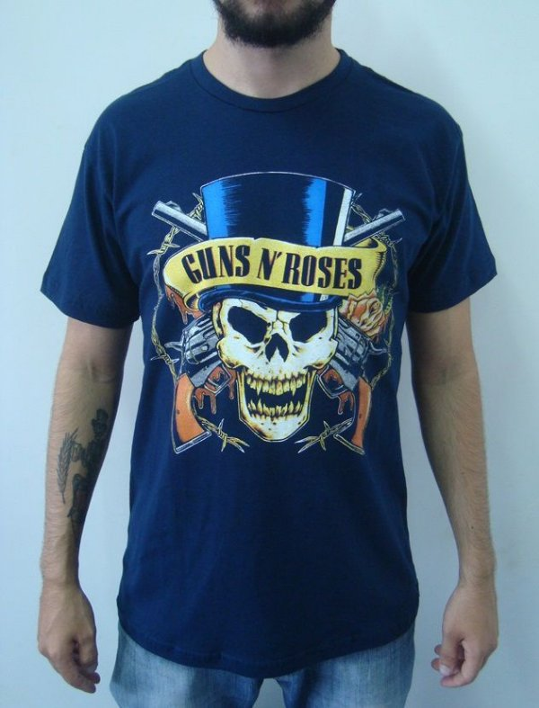 Camiseta Azul - Guns And Roses - Caveira Cartola