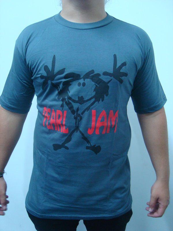 Camiseta Pearl Jam Clássica Cinza