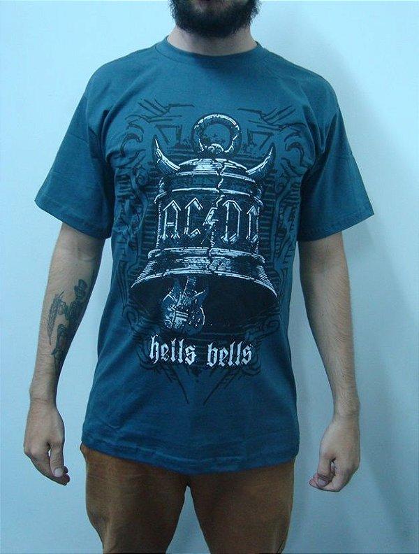 Camiseta AC DC - Hells Bells - Cinza