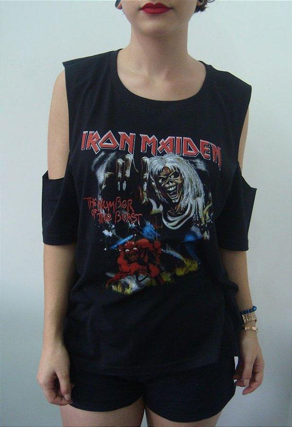 Camiseta feminina com ombro aberto - Iron Maiden - Number of the beast