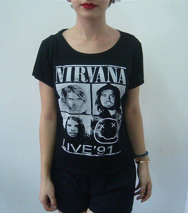 Baby look Customizada - Nirvana - Live '91