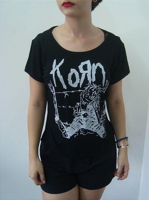 Baby look feminina customizada - Korn