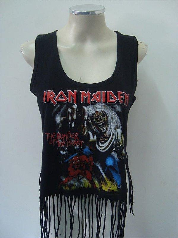 Regatinha feminina customizada - Iron Maiden - The Number of the Beast