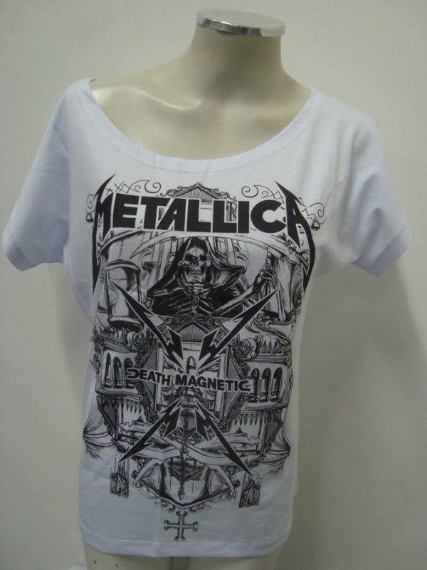 Blusinha gola canoa - Metallica - Death Magnetic branca