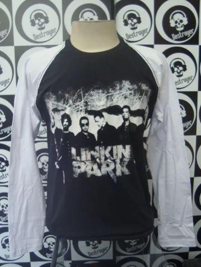 Camiseta Manga Longa Raglan - Linkin Park
