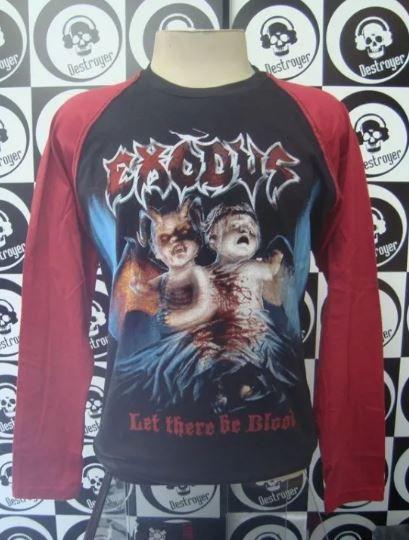 Camiseta Manga Longa Raglan Exodus - Let there be blood
